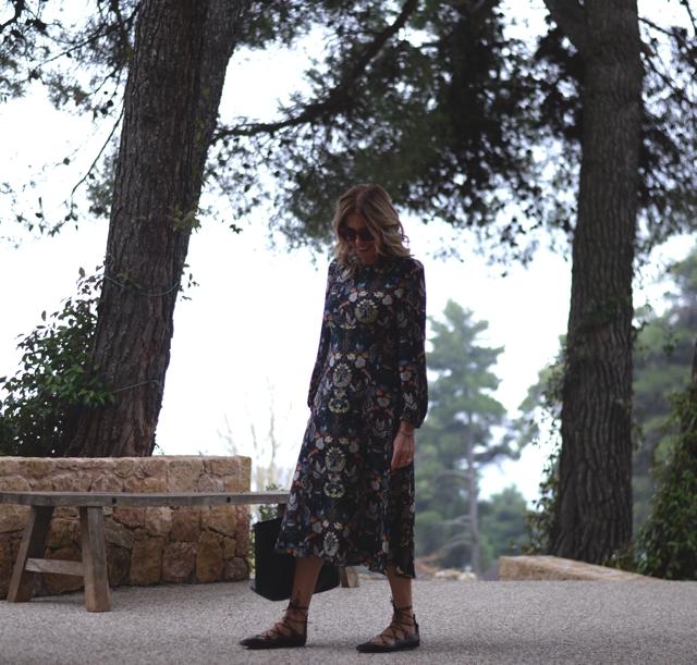 Floral Print dress, Isabel Marant lace up flats, Saint Laurent Shopping bag