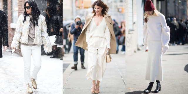 Hanneli Mustaparta and Veronika Heilbrunner (pictured middle and right) made the case for wearing top-to-toe white, cream and beige. Noted.