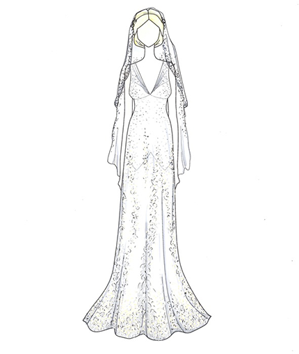 Kate Moss iconic wedding dress illustration