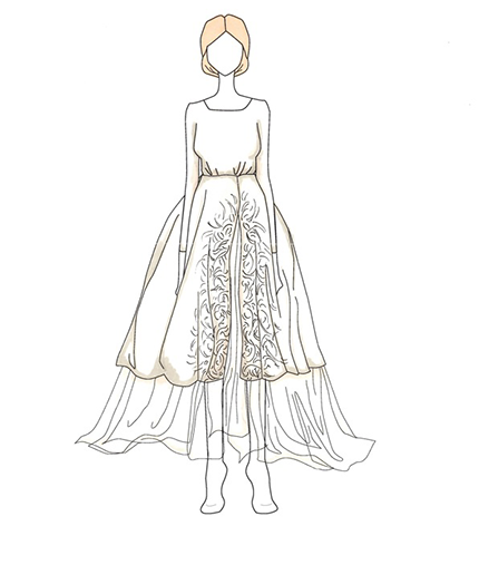 Olivia Palermo wedding dress illustration