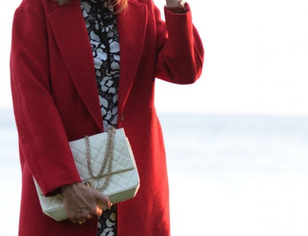 Red coat Chanel bag