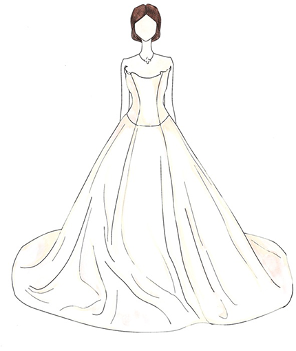 Victoria Beckham wedding dress illustration