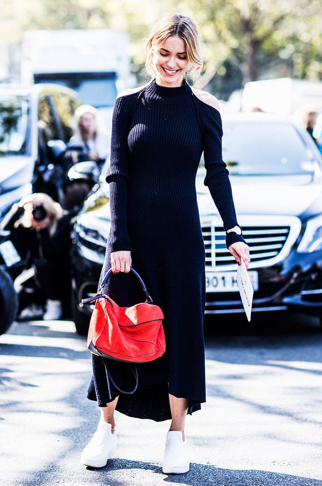long dress sneakers street style