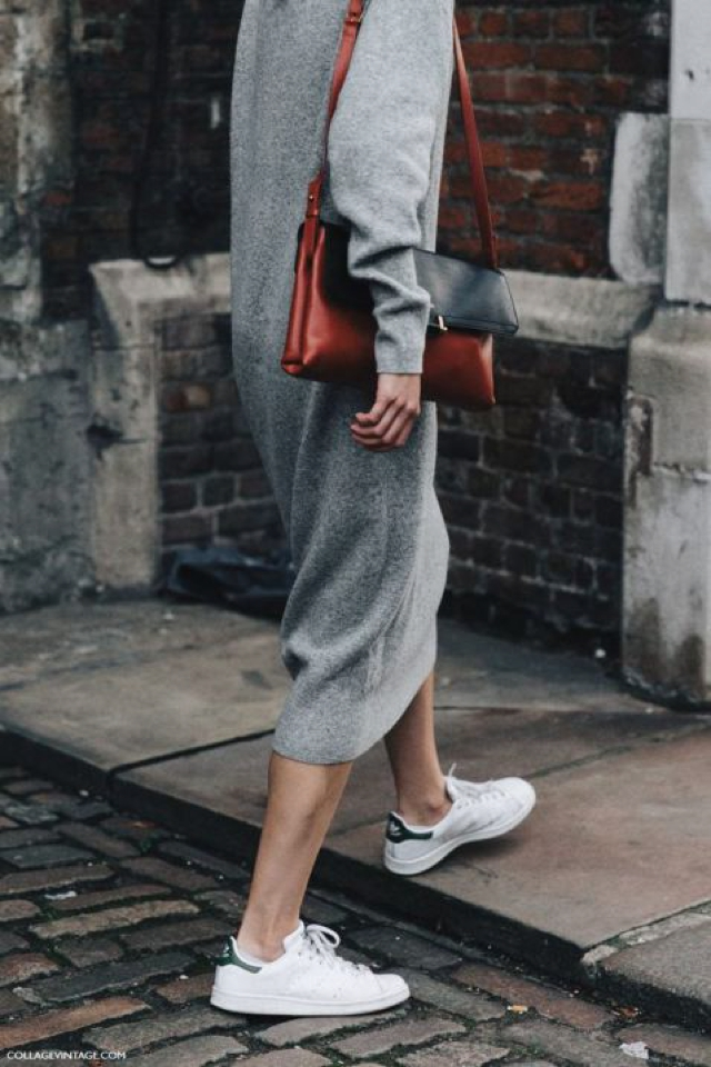 long wool dress and athletic shoes