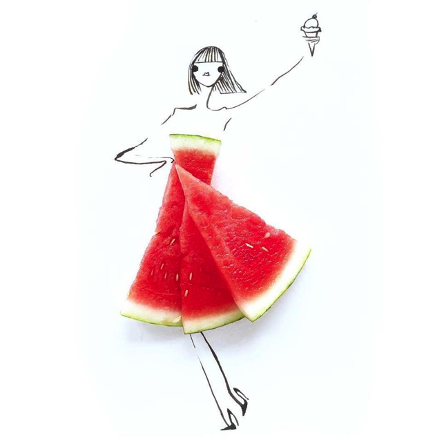 red dress water melon