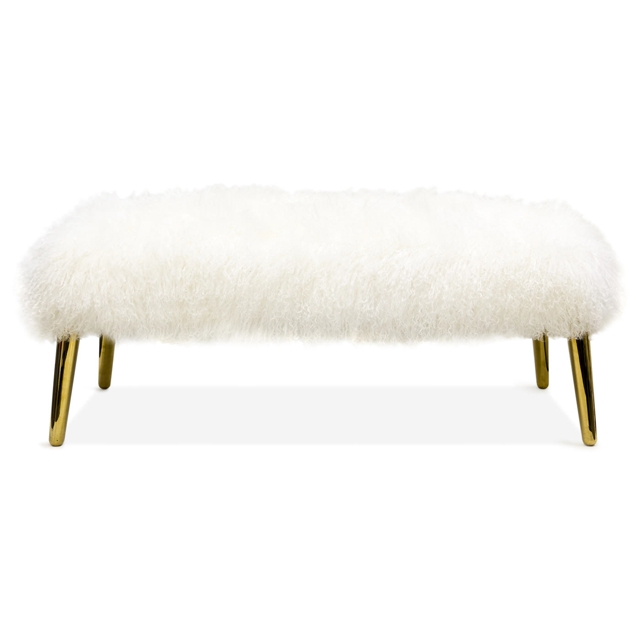 mongolian lamb bench white