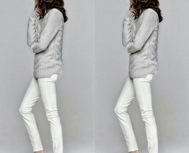 silver sweater over white jeans