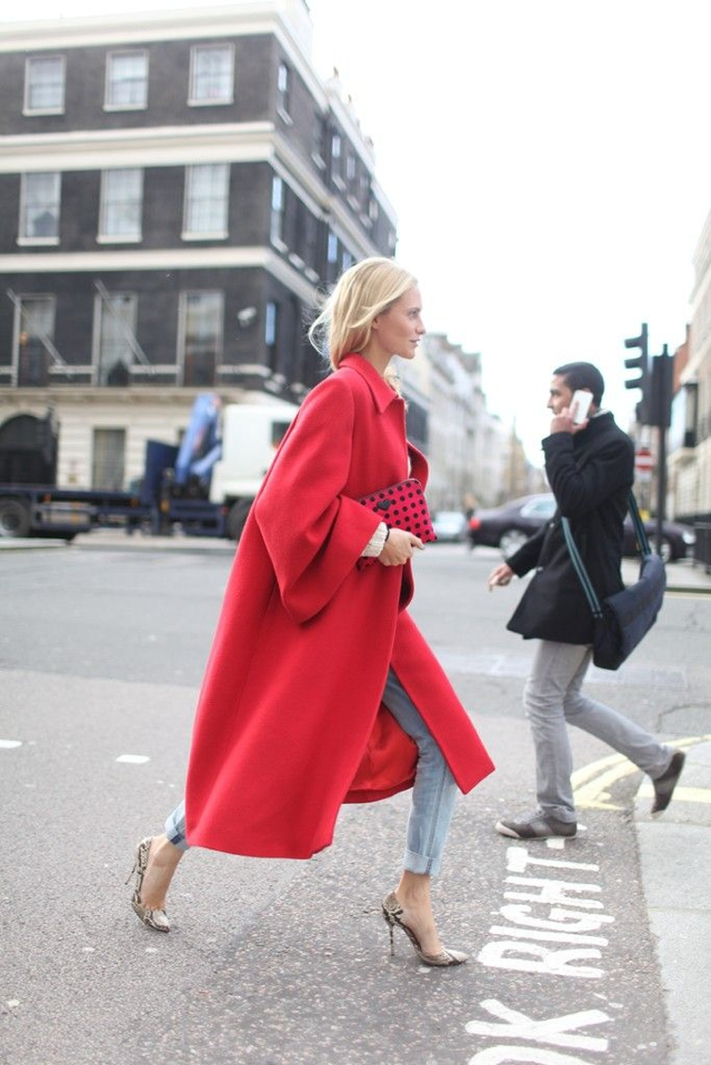 street style red fashion coat