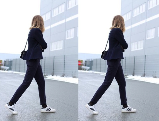 white sneakers with black socks street style