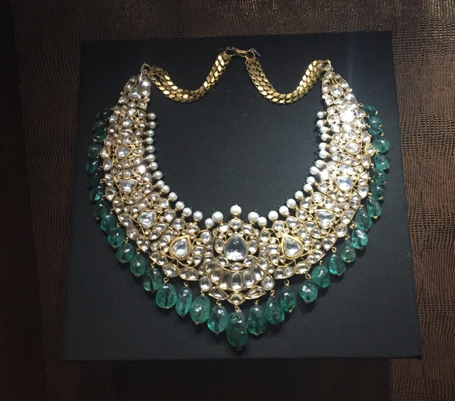 Diamonds and emerald necklace The National Museum New Delhi, Antique Indian Jewelry