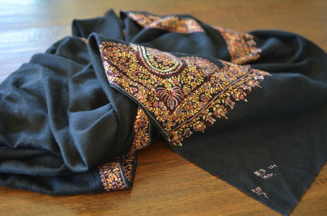 How to buy genuine Pashmina Shawls, black hand embroidered