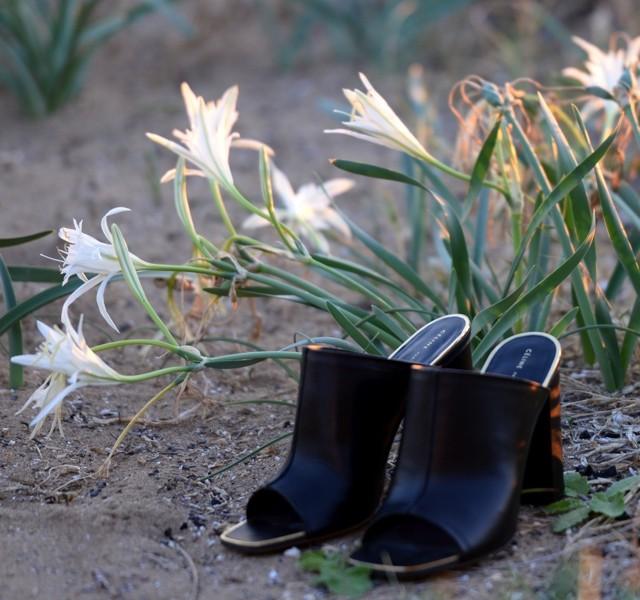 Celine open toe mules gold details block heel sandals beach