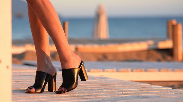Celine open toe mules gold details block heel trendSurvivor Nina Papaioannou