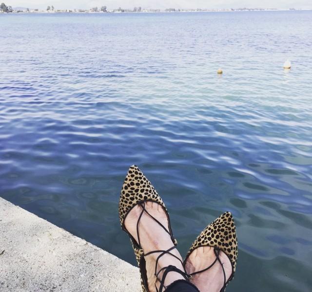 Christy ballerina Aquazzura leopard calf hair flats