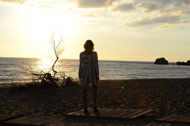 Greece sunset Trendsurvivor striped shirt dress