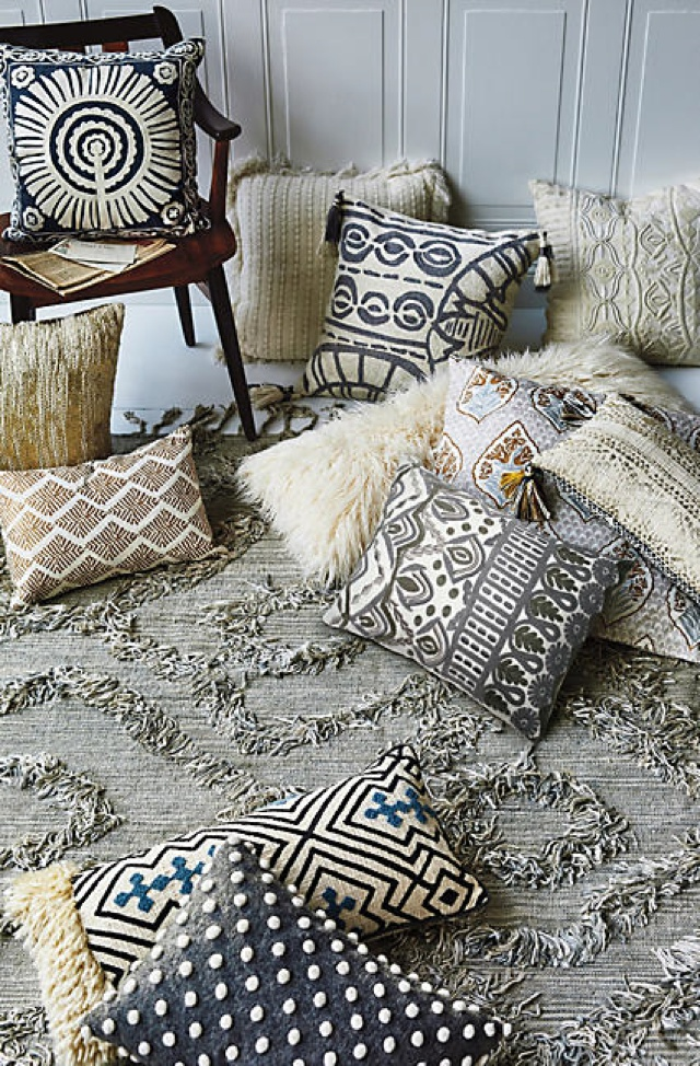 Home decoration with fringed pillows
