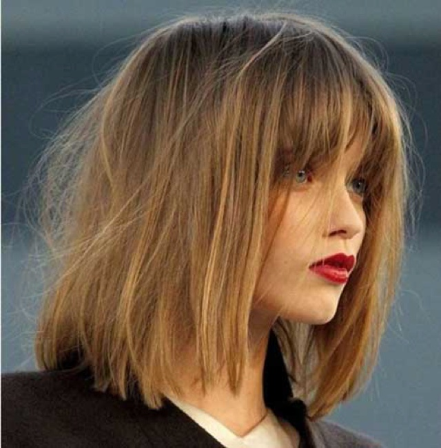 Long Messy Bob with Bangs