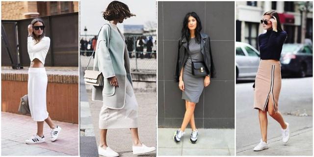 Street style sneakers skirt