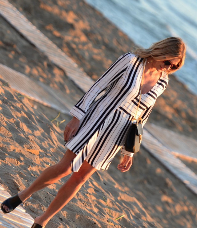 Trendsurvivor striped shirt dress Celine mules