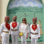 India | Total White, bell sleeves and Gucci Metallic Shoes
