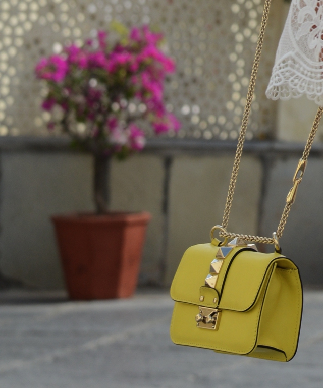 Valentino mini yellow rockstud bag