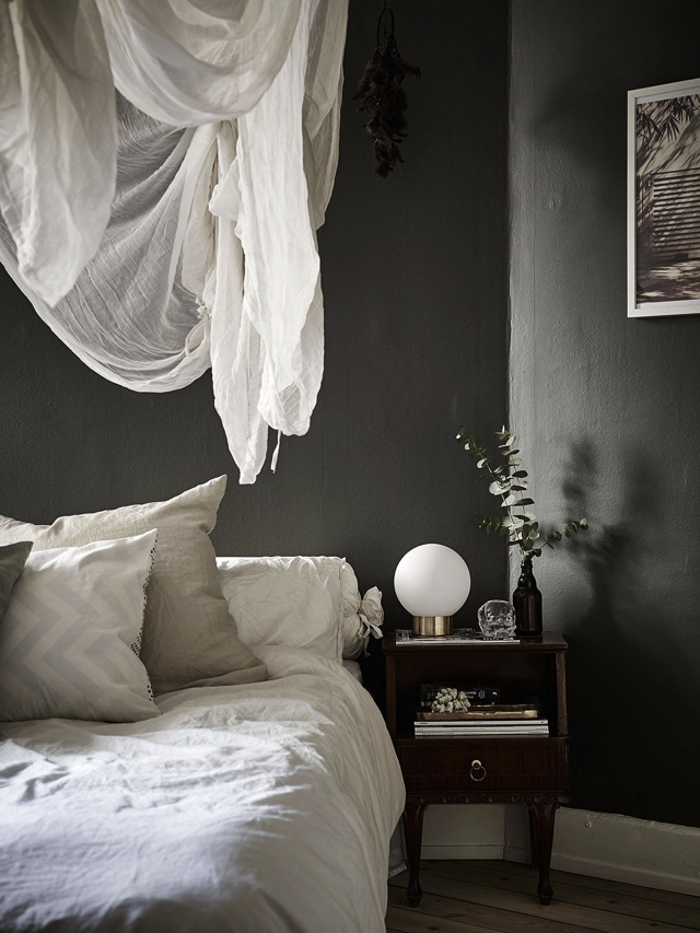 linen bedshits anthracite color walls