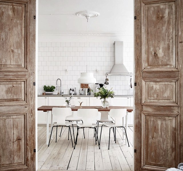 antiqued doors dining room kitchen