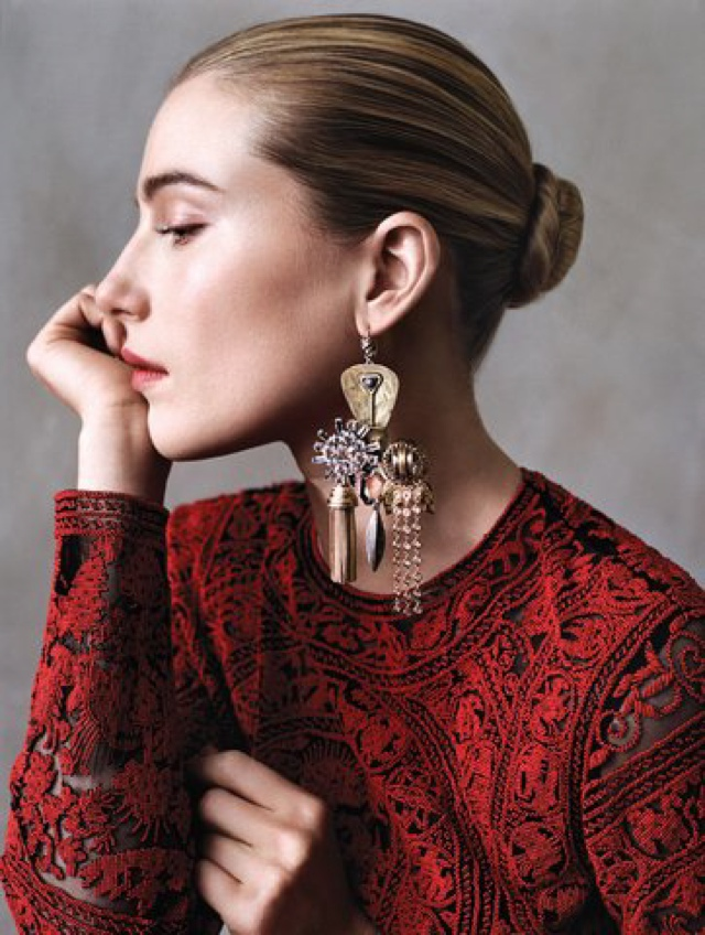 Dree Hemingway w Celine statement earrings for Vogue