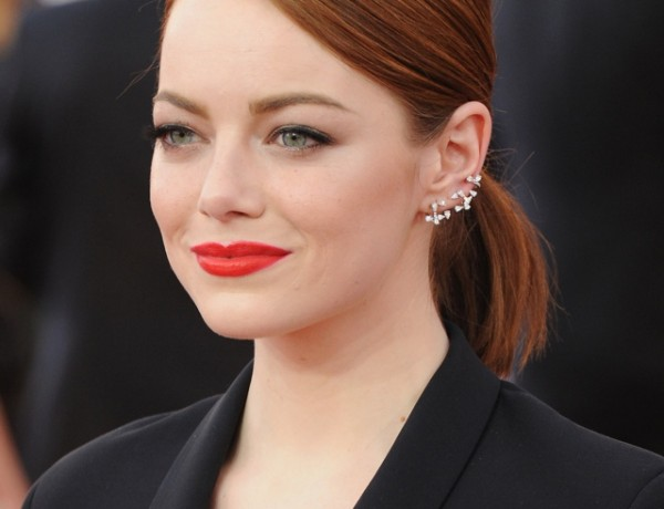 Emma-Stone-diamond-Repossi-ear cuffs multiple earrings