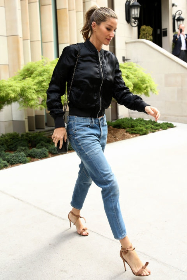 Gisele how to style a bomber jacket