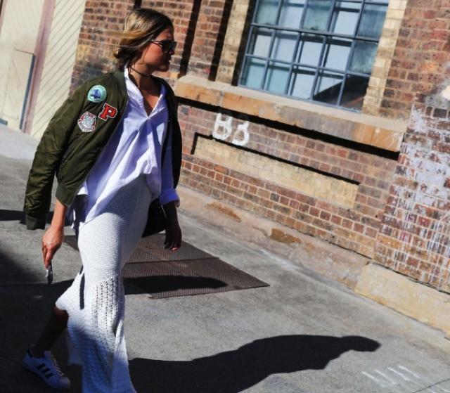 Isabelle Cornish bomber jacket white lace dress