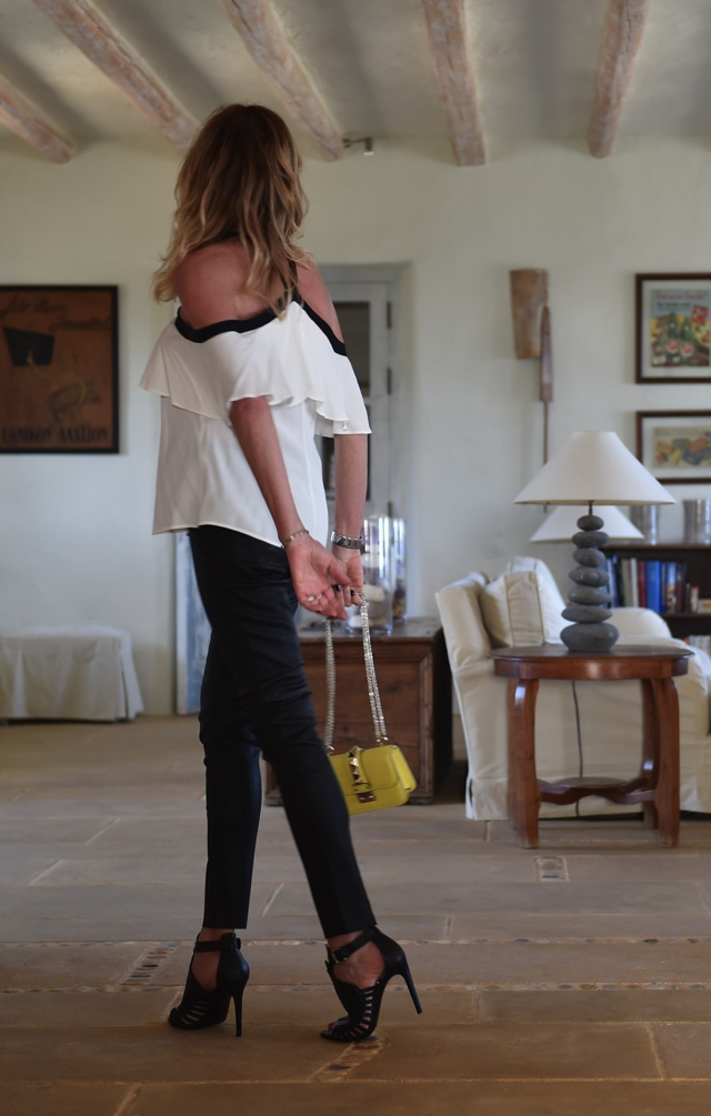 leather black pants off the shoulder top