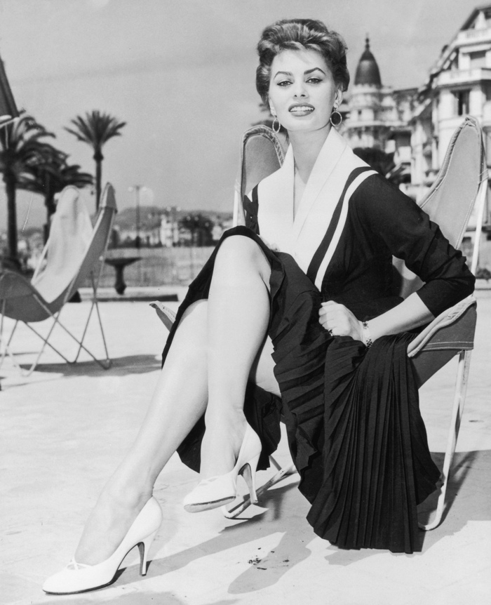 Sophia Loren, 1955 black and white street style Cannes