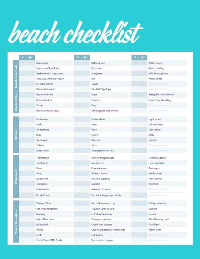 Exceptional image intended for printable beach packing list