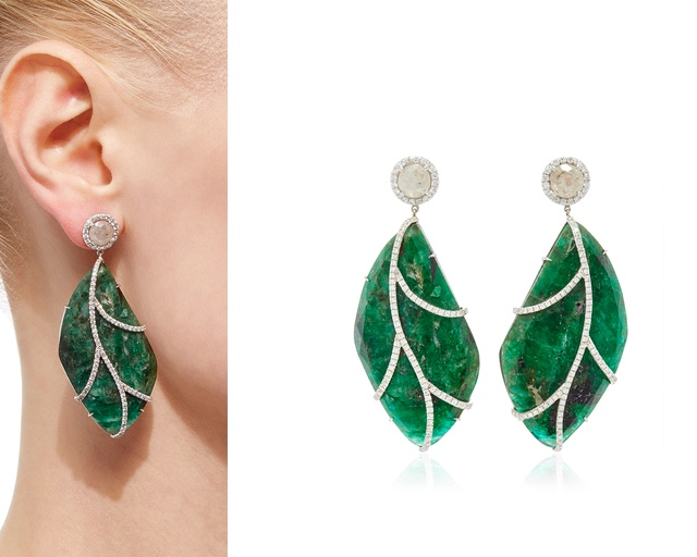 NINA RUNSDORF Emeraldand Rough Diamond Leaf Earrings