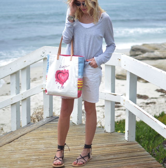 TrendSurvivor La Jolla packing beach essentials blogger style white bermuda shorts
