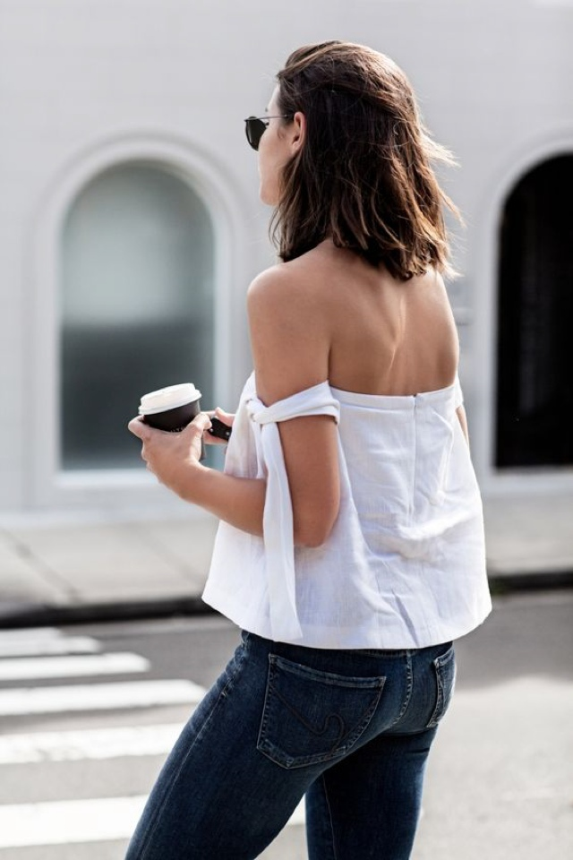 white-off-shoulder blouse street style