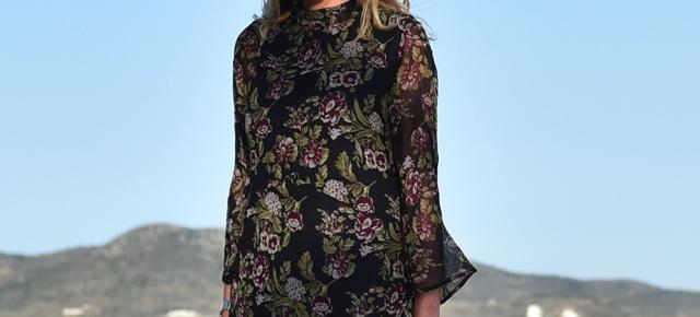 Boho Chic Floral Print dress black midi00