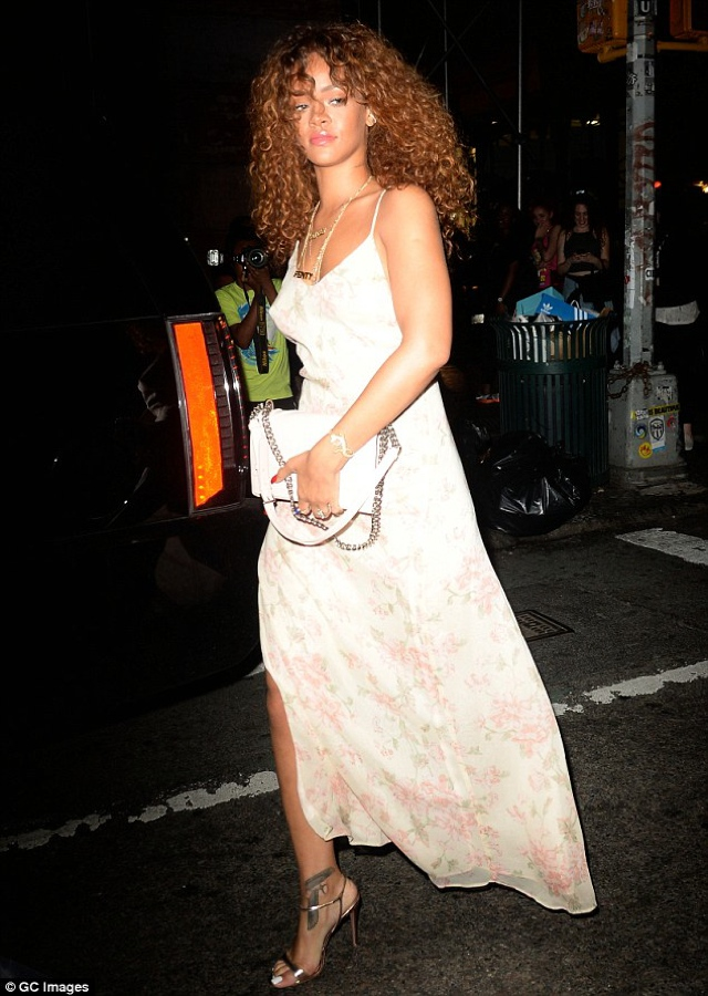 Rihanna floral white long dress