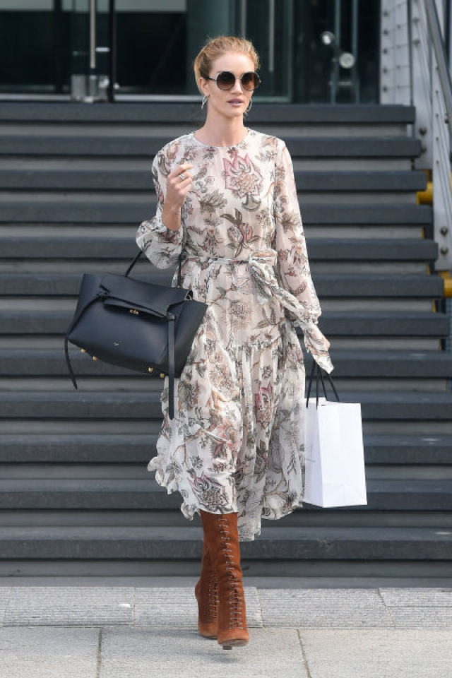 Rosie Huntington-Whiteley floral dress round sunnies