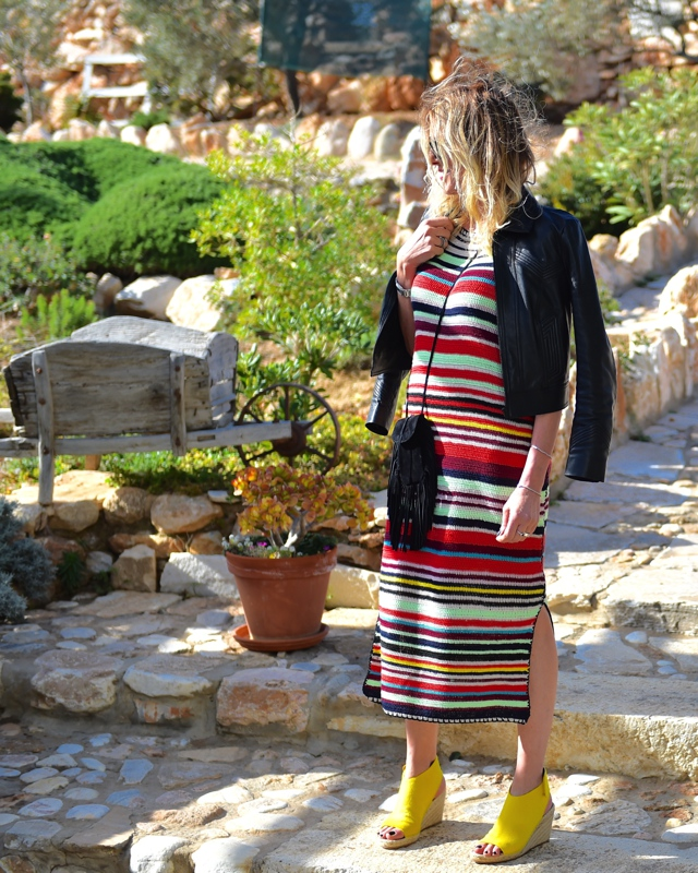 TrendSurvivor Nina Papaioannou Stripe dress Fringe Saint Laurent Anita bag Celine espadrilles