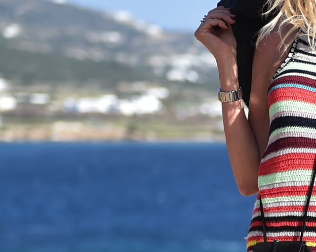 Multicolor stripes dress, sea