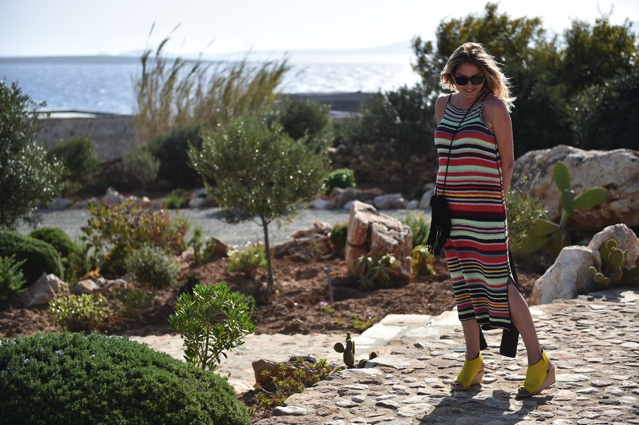 TrendSurvivor Nina Papaioannou Stripe dress Fringe Saint Laurent bag Celine espadrilles