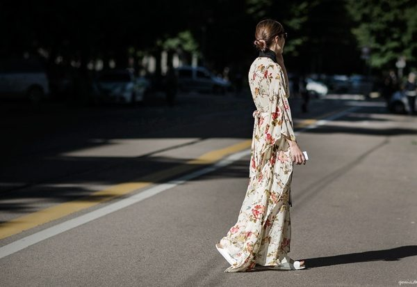 long maxi floral dress street style