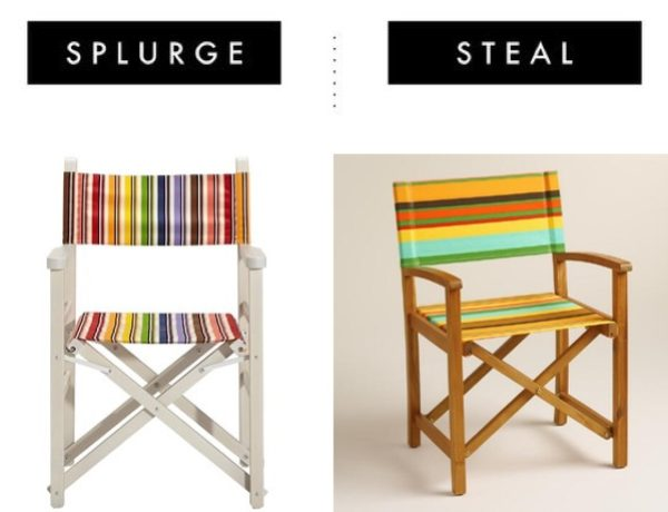 striped directors chair Missoni splurge or save look a like