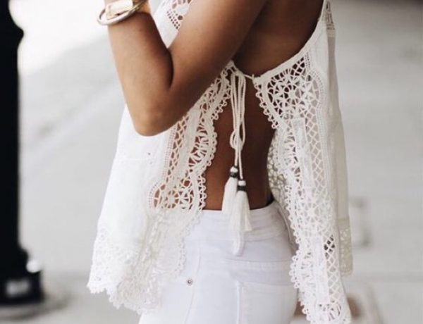 white blouse top white pants
