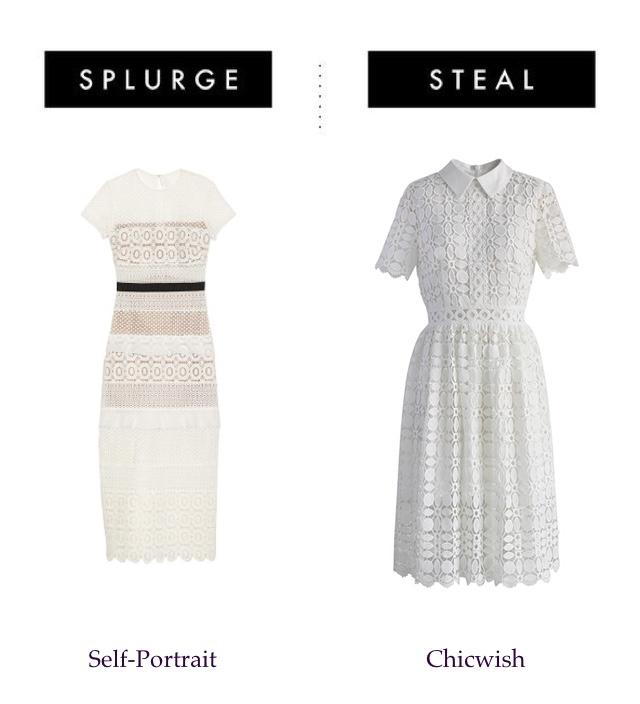 Splurge or steal midi lace dress