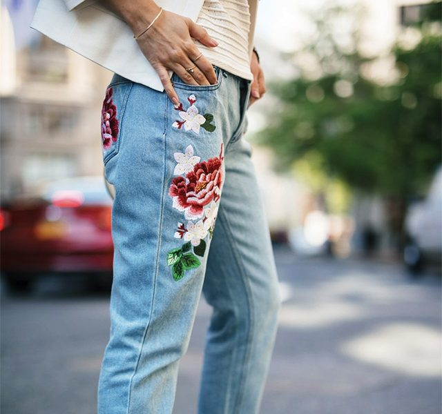 embroidery jeans flowers