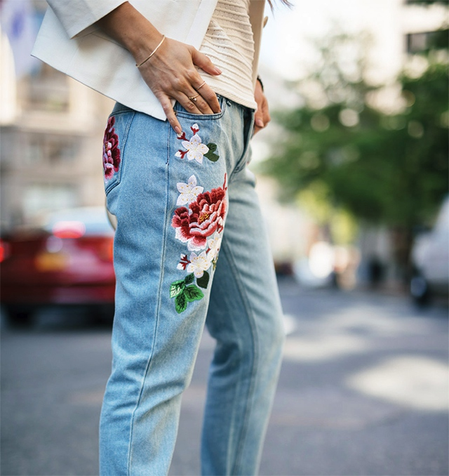 embroidered  jeans flowers