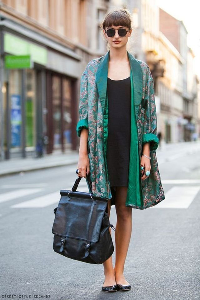 printed robe coat over bodycon dress